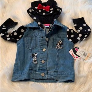 "NWT Disney Denim Jacket 2T ""Mickey Peeking""."